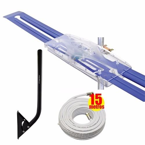 Antena Digital Externa amplificada Diamante e Mastro Articulável 50cm e Cabo Coaxial 15 Metros - Capte