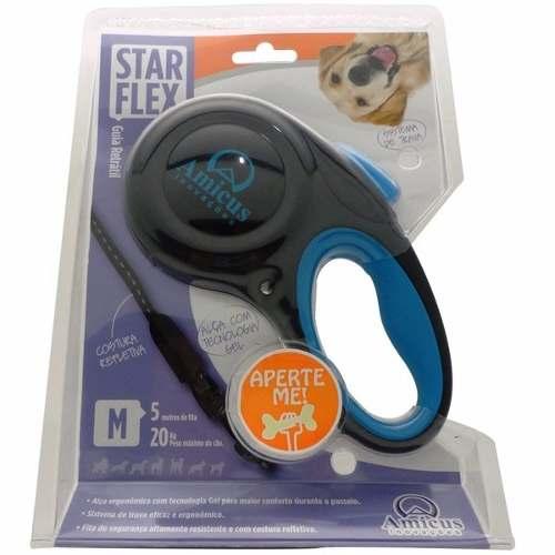 Guia Retrátil Star Flex P - Azul e Preto - Amicus Cães de Porte pequeno e médio