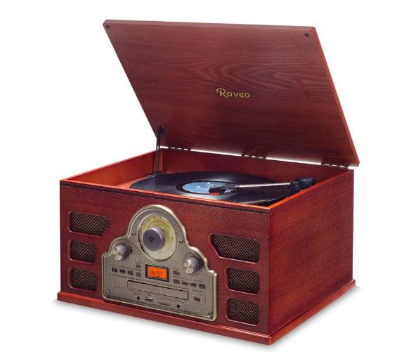 Vitrola Raveo Tenor Toca Disco Bivolt com Bluetooth USB Rádio FM e Cartão SD