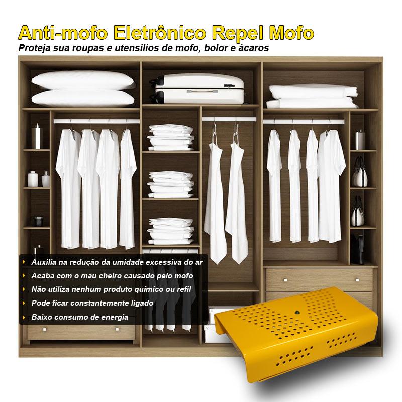 kit Anti Mofo Eletrônicos Repel Mofo 2 unidades, Anti-Ácaro e Fungos, Desumidificador 220v Amarelo
