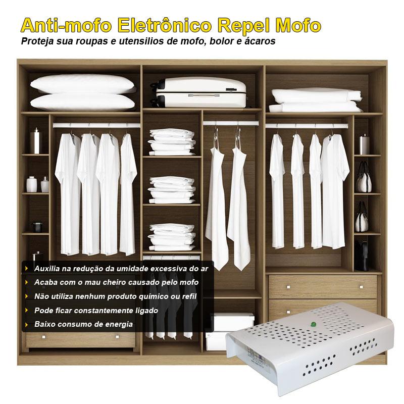 Kit Anti Mofo 2 peças 220v Branco Eletrônico Repel Mofo Contra Bolor Mofo Ácaros