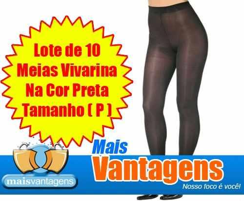 Lote de 10 Meias Calça Vivarina na cor preta tamanho P