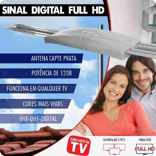 Antena Digital Externa Capte Prata e Cabo Coaxial 15 Metros