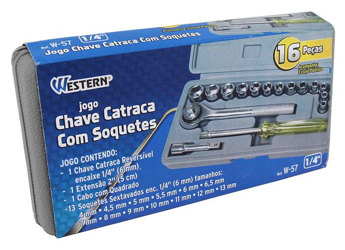 Soquete Catraca 1/4 16pc Weste / W-57 com Maleta Jogo de Chave
