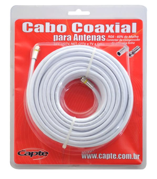 Cabo Coaxial Capte, 67% de malha de blindagem com 25 metros