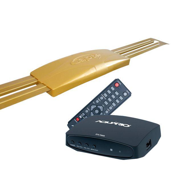 Antena Digital 4K Externa Capte Ouro + Conversor e Gravador Digital DTV 7000