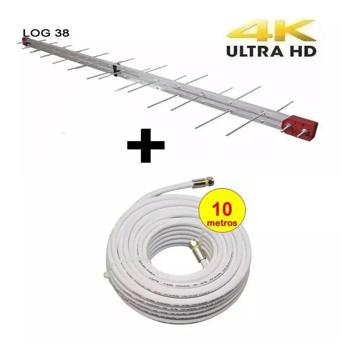 Antena Digital 4k Externa Log 38 + cabo de 10