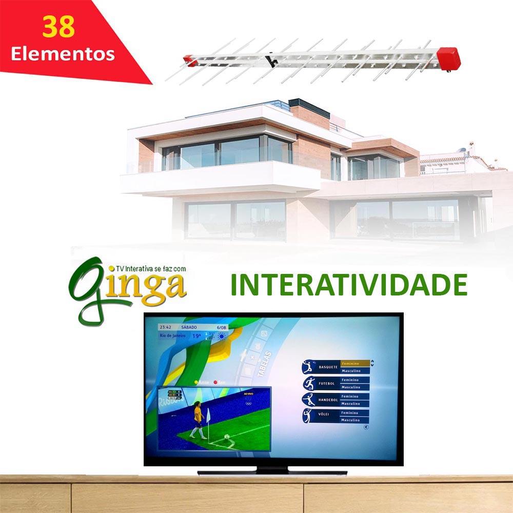 Antena Digital 4k Externa Log 38 + Mastro 45cm E Cabo 20m