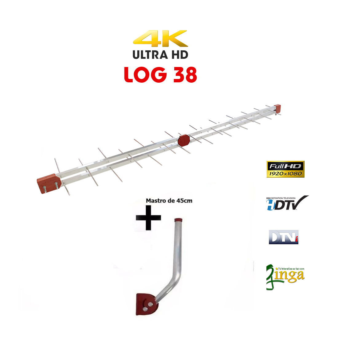 Antena Digital 4k Externa Log 38 + Mastro 75cm