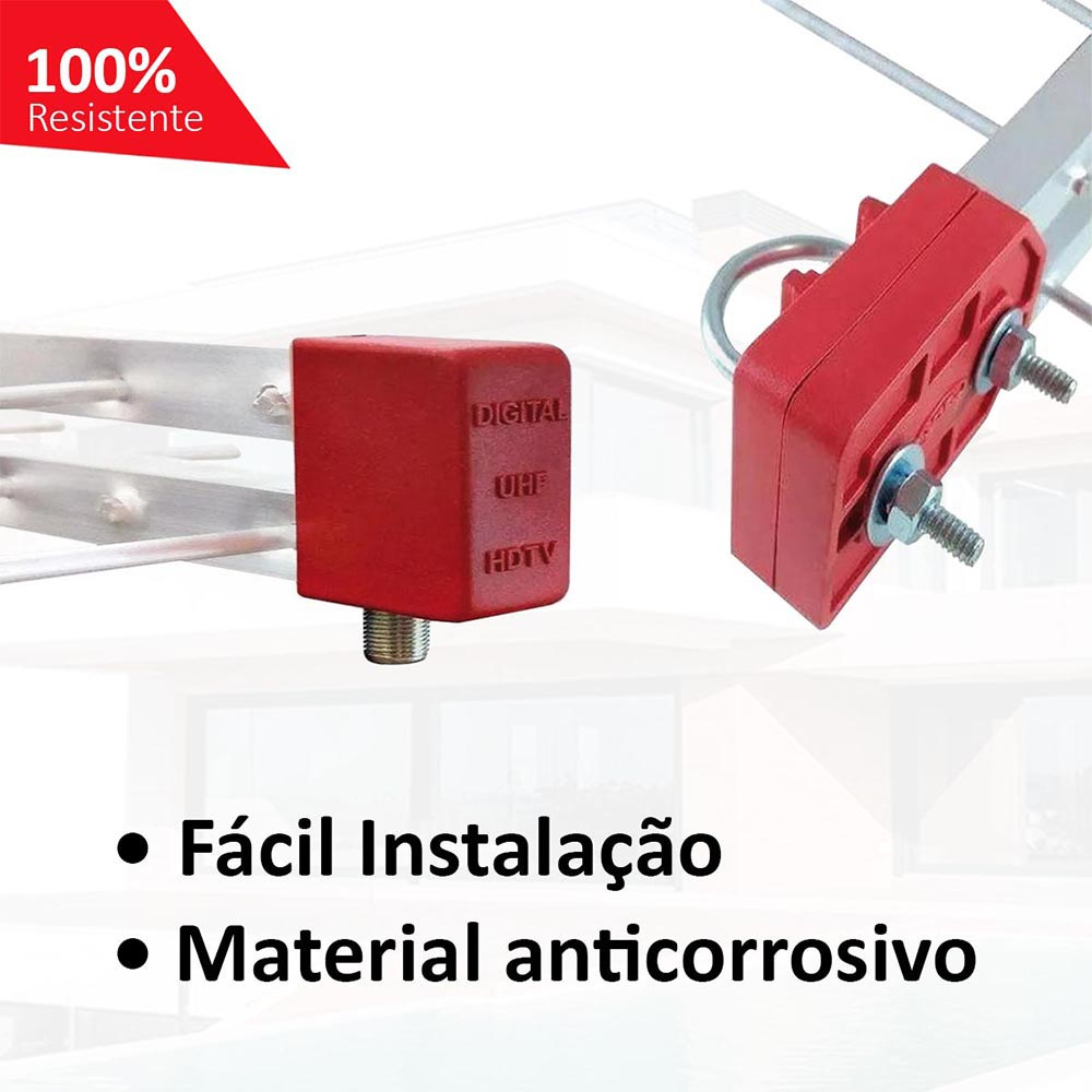 Antena UHF Digital 4k Log 28 Externa Kit 20 com Cabo 15m e Mastro