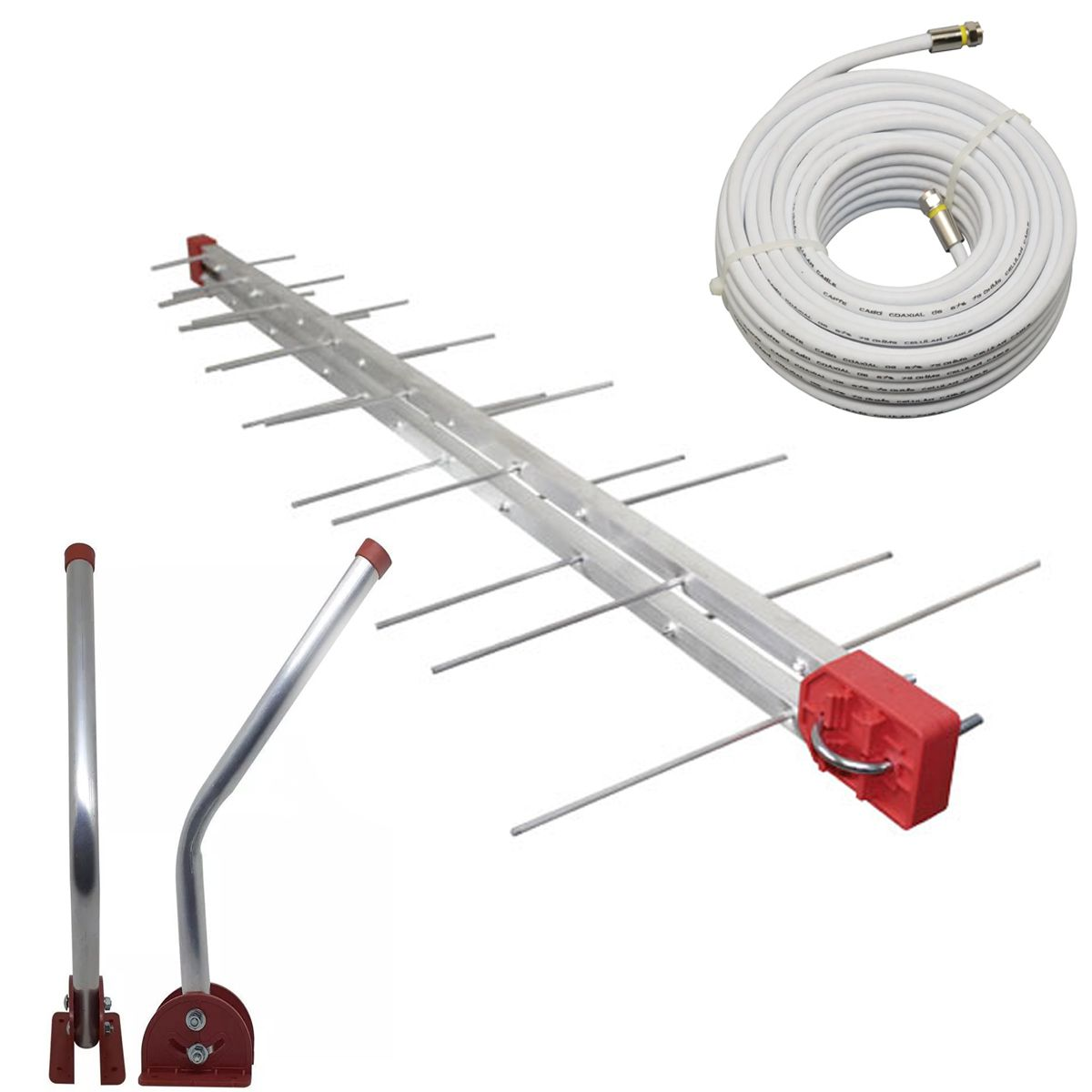 Antena Digital 4K UHF DIGITAL Antena Log 28, Mastro 75 cm e Cabo Coaxial 20m Kit Capte