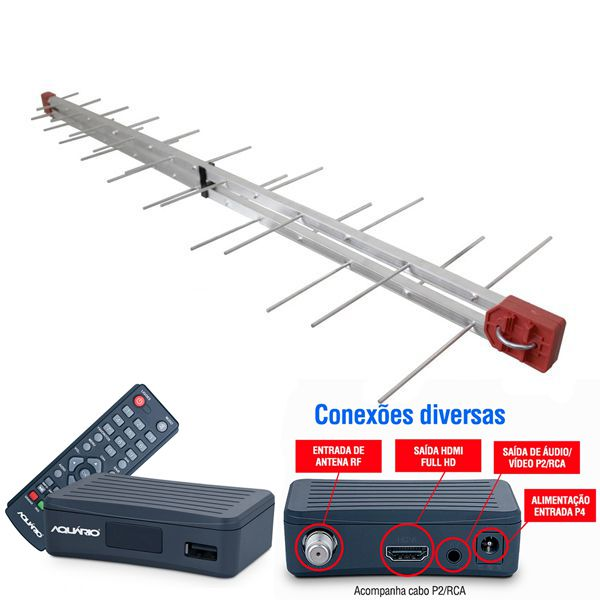 Antena Digital 4K UHF Digital Log 34 Elementos + Conversor e Gravador Digital Aquário DTV 4000S