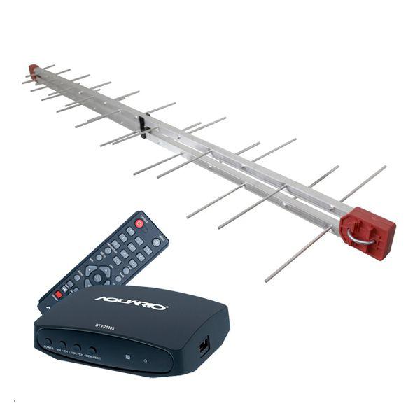 Antena Digital 4K UHF Digital Log 34 Elementos + Conversor e Gravador Digital Aquário DTV 7000S