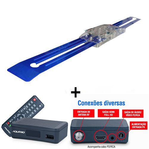 Antena Digital Amplificada 4K Externa Capte Diamante e Conversor Digital Aquários DT 4000