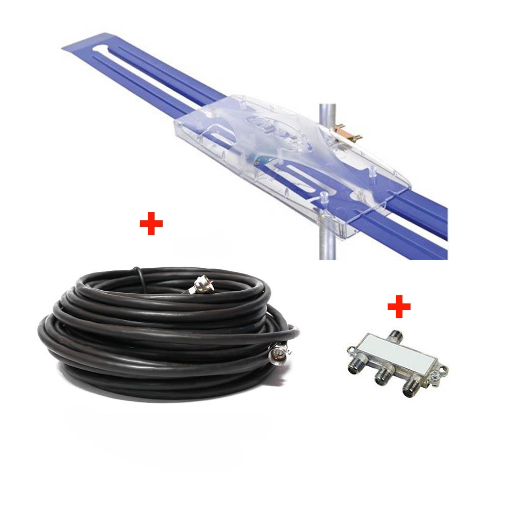 Antena Digital Amplificada Diamante Cabo Coaxial 15 Metros e Divisor 3x1 - Capte