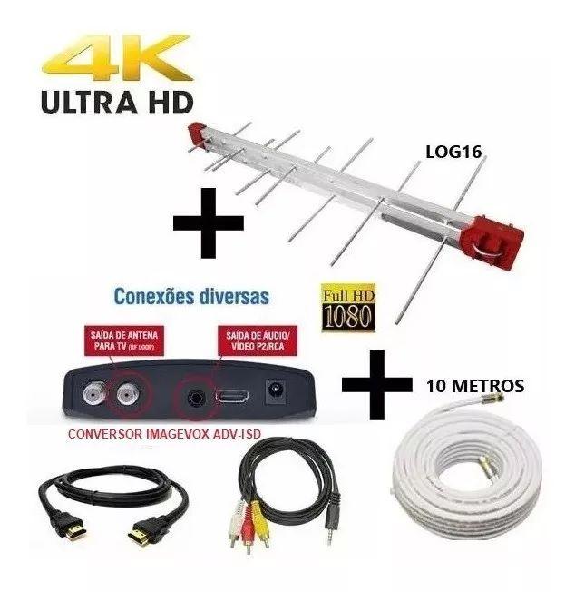 Antena Digital Externa 4K Capte Log 16 Elementos + Conversor  Digital + Cabo 10 metros