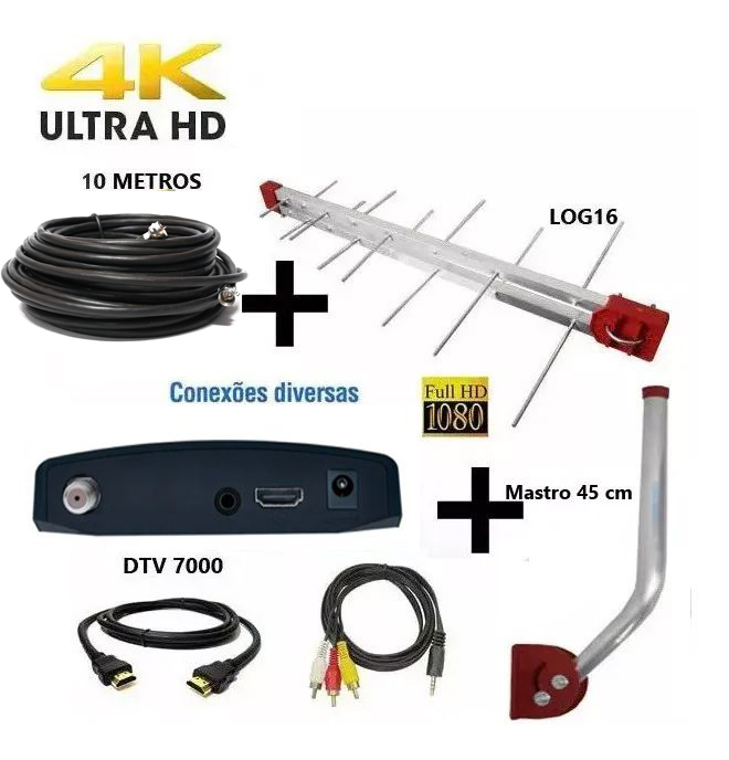 Antena Digital Externa 4K Capte Log 16 Elementos + Conversor  Digital  + Cabo 10 metros + Mastro 45 cm