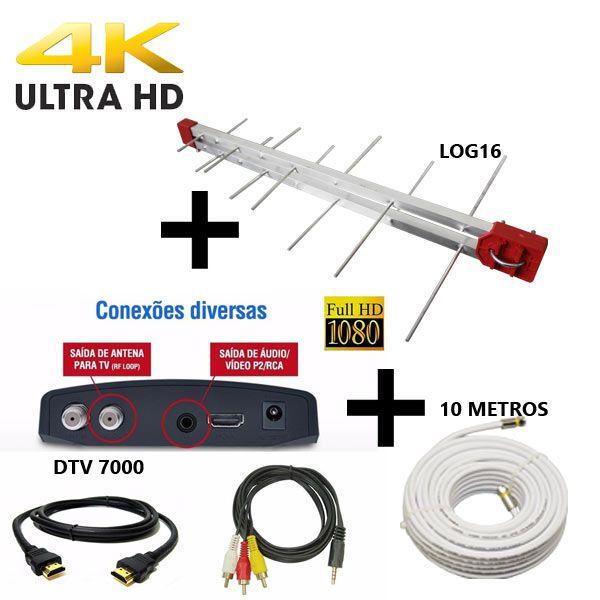 Antena Digital Externa 4K Capte Log 16 Elementos + Conversor e Gravador Digital Aquário DTV 7000S + Cabo 12 metros