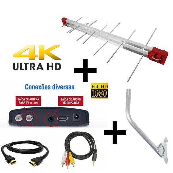 Antena Digital Externa 4K Capte Log 16 Elementos + Conversor e Gravador Digital Aquário DTV 7000S + Mastro de Fixação