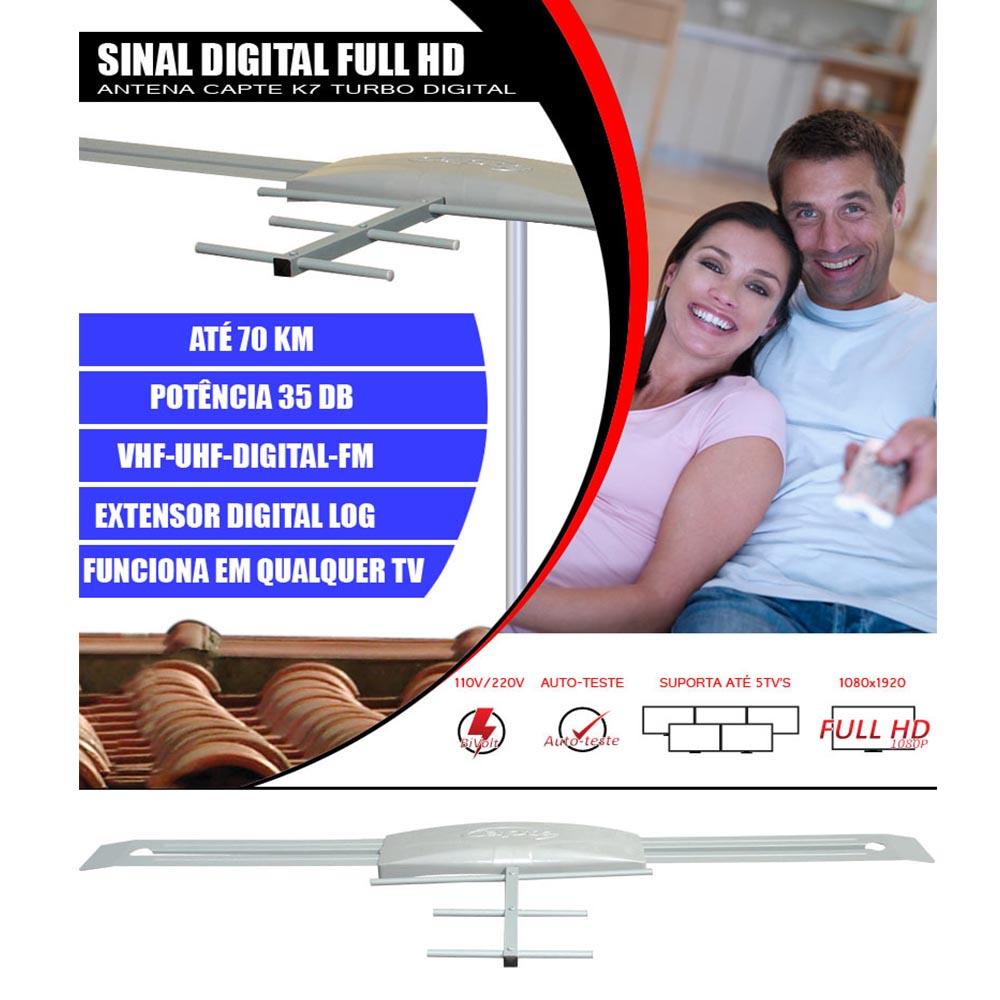 Antena Digital Externa Amplificada Capte K7 Turbo Digital + Conversor e Gravador Digital Aquário DTV 7000S