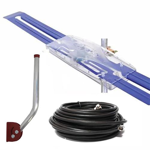 Antena Digital Externa amplificada Diamante e Mastro Articulável 45 cm e Cabo Coaxial 15 Metros - Capte