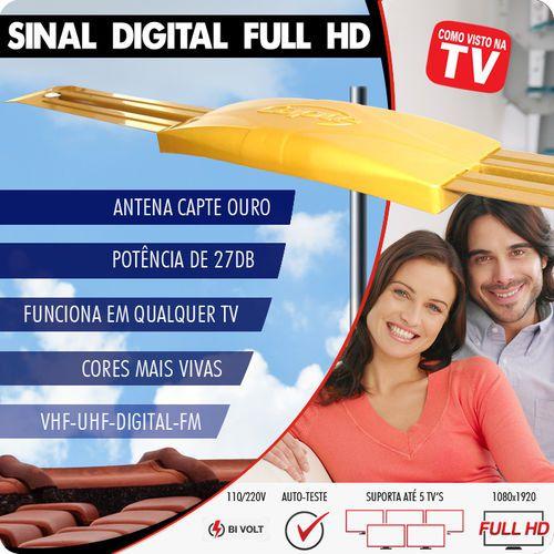Antena Digital Externa Amplificada Ouro 4x1 Vhf Uhf Digital Hdtv E Fm - Capte