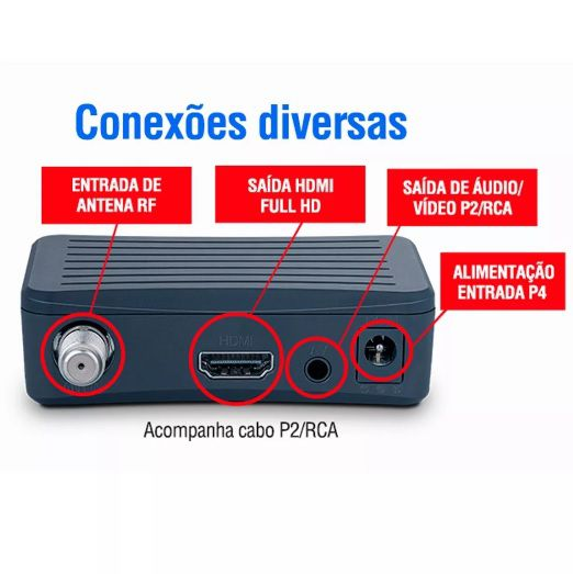 Antena Digital 4K Externa Capte Diamante e Conversor Digital Aquários DT 4000