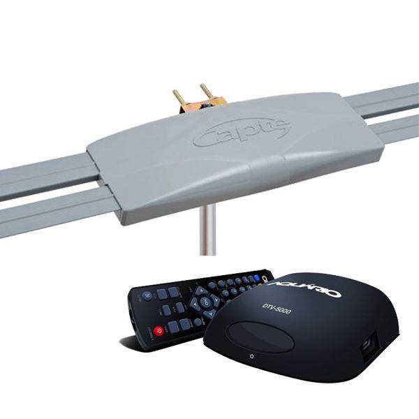 Antena Digital Externa Capte Prata e Conversor Sinal Digital Aquário Dtv5000