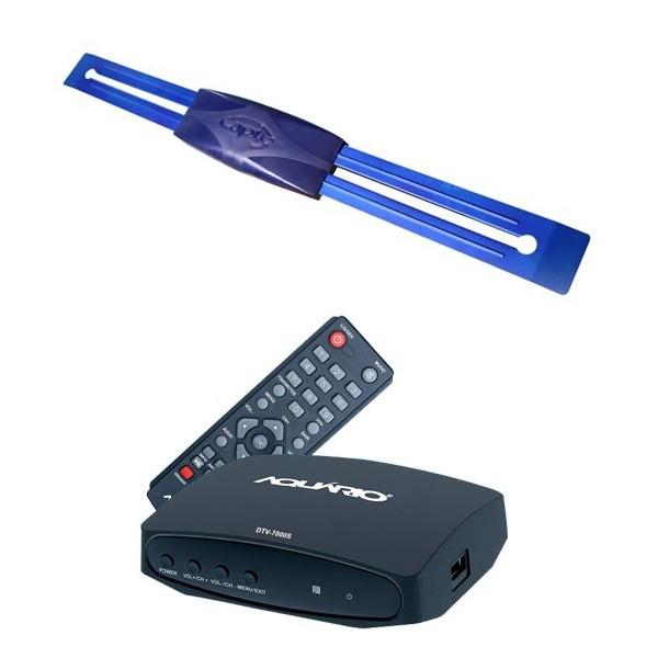 Antena Digital Externa Capte Prata e Conversor Sinal Digital Aquário Dtv7000