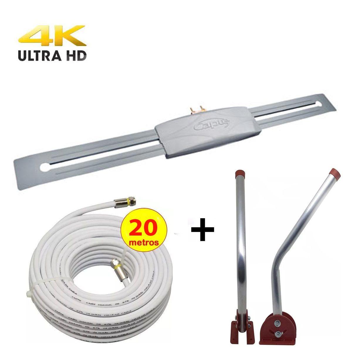 Antena Digital Externa Capte Prata Full HD com Mastro Articulável 45 com e Cabo Coaxial Capte de 15 mt