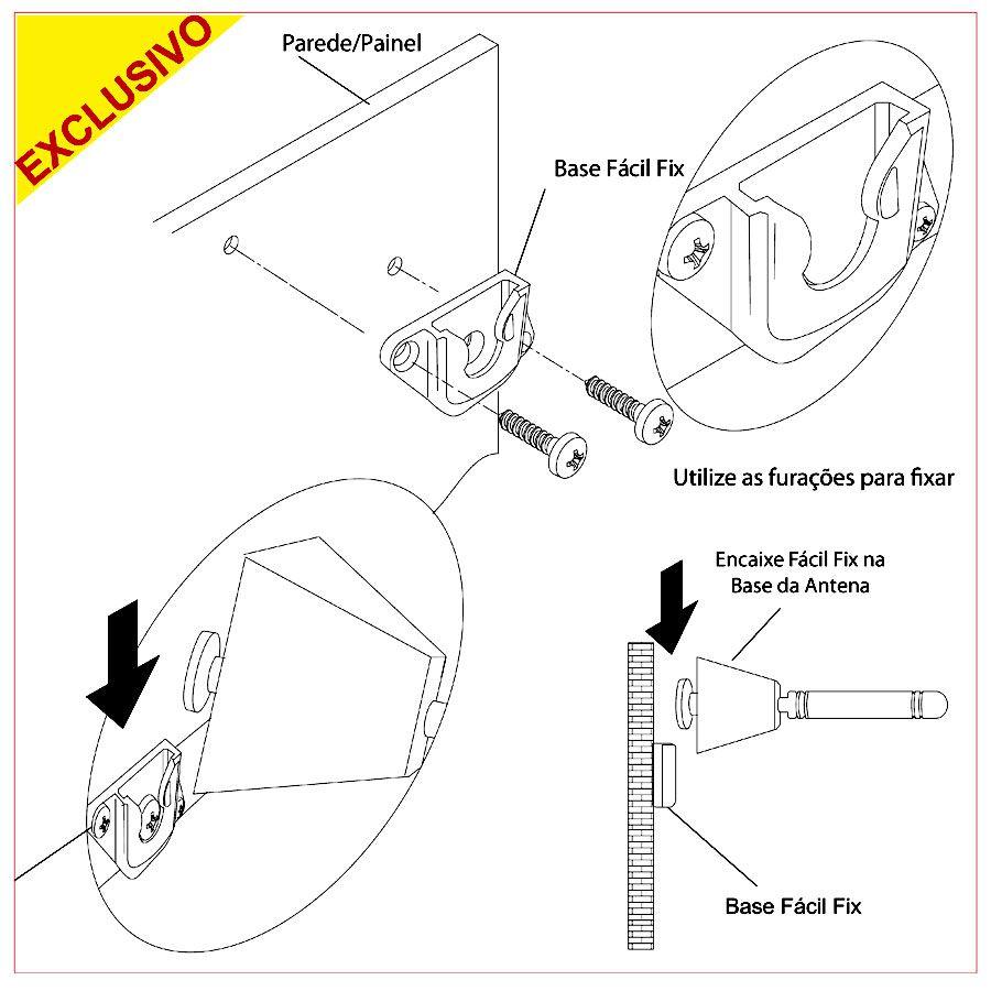 Antena Digital Interna/Externa Jade c/ 1,2 mt Cabo e Sistema de Fixação Fácil Fix Painel/Rack ou Parede