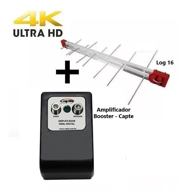 Antena Digital Log 16 + Amplificador De 30db Booster - Capte