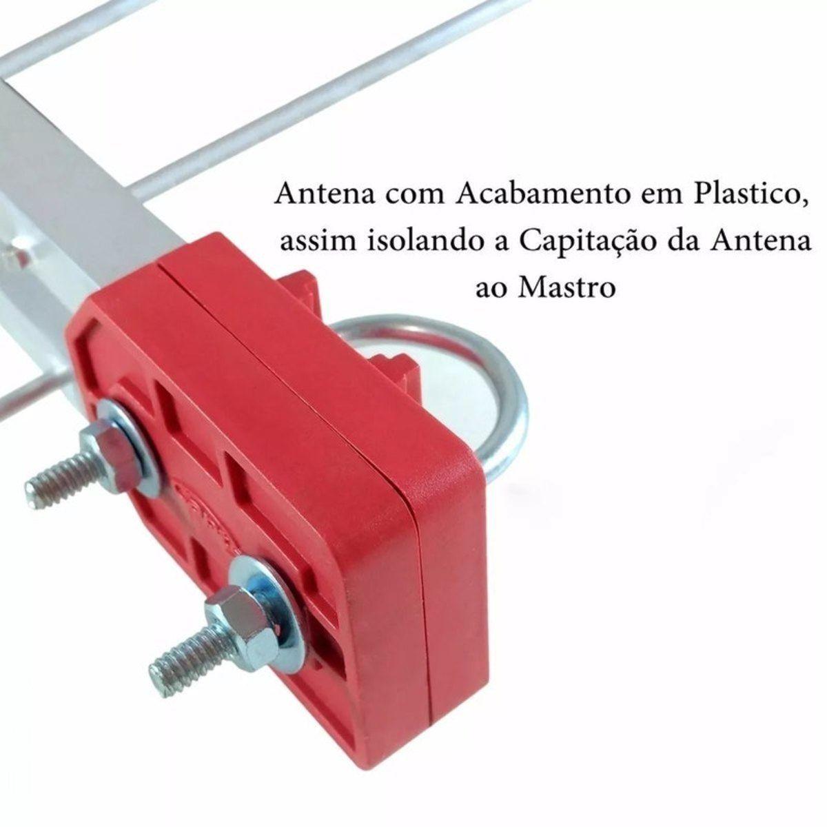 Antena Externa Digital 4k Log 28 Elementos E Cabo 10 Metros + Mastro 45 cm