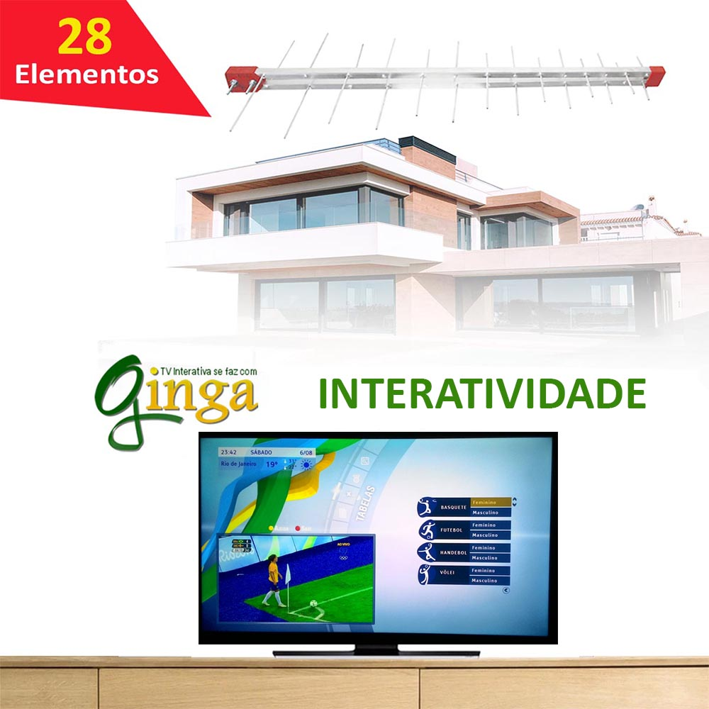 Antena Tv Digital 4K Externa Log 28 Elementos  Uhf Digital Hdtv Capte