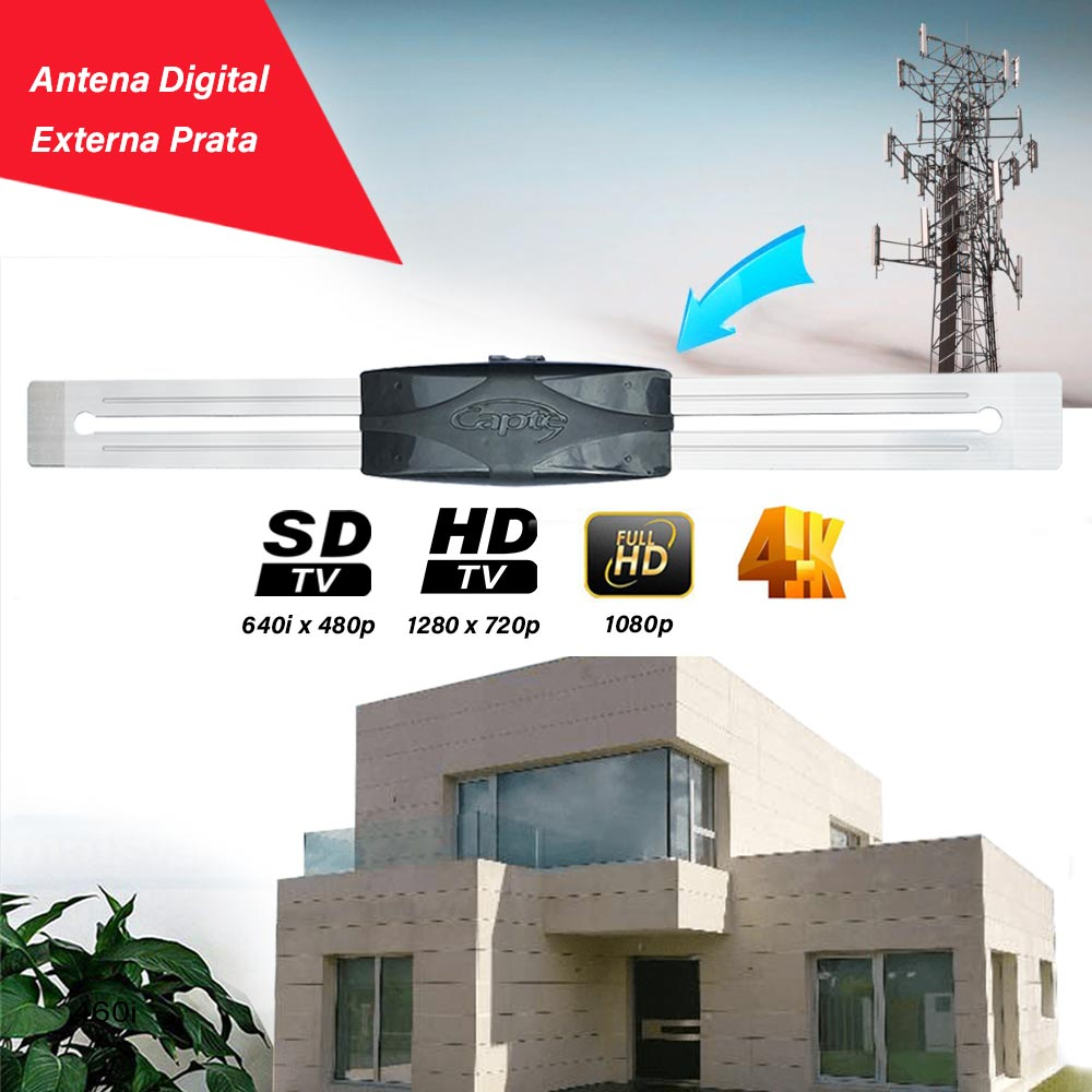 Antena TV Digital Externa Vhf Uhf Digital Hdtv Capte Prata