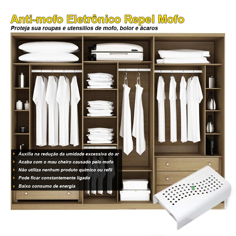 Anti Mofo Eletrônico R14 220V kit 4 unid. Branco Repel Mofo, Anti-Ácaro e Fungos, Desumidificador Capte