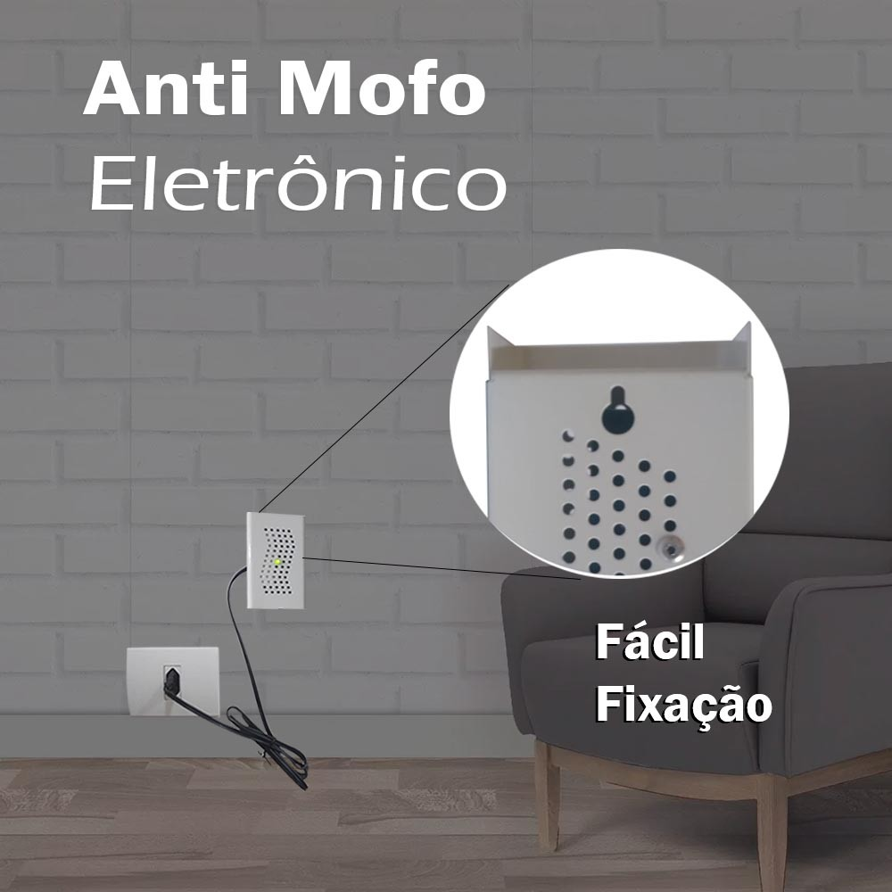 Anti Mofo Eletrônico R14 220V Branco Repel Mofo Anti-Ácaro e Fungos Cabo 5 Metros