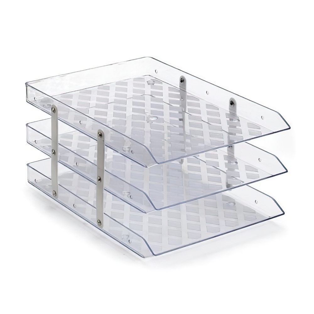 Caixa Organizadora tripla fixa de acrílico de mesa cristal