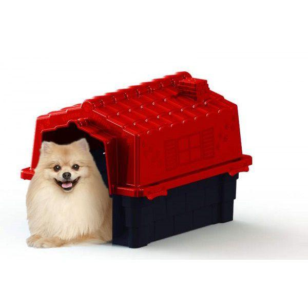 Casa de Cachorro Casinha Prime Colors Dog House Evo Pequena N2 Cor Vermelho -  Plástico