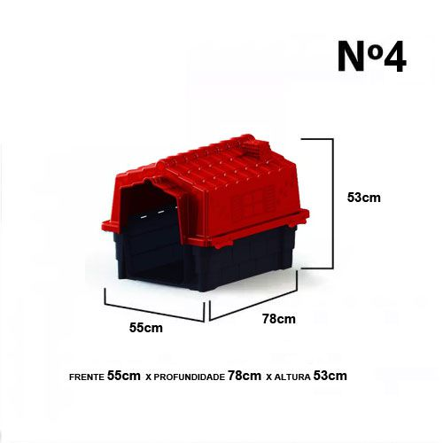 Casa de Cachorro Casinha Prime Colors Dog House Evo Grande N4 Cor Vermelho - Plástico