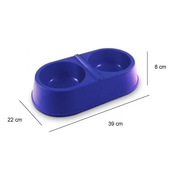 Coleira AntiLatido Smart Plus 2 Azul e Comedouro Coma Melhor Grande