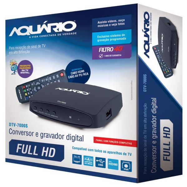 Conversor e Gravador Digital Aquario DTV 7000S de TV Full HD - HDMI - USB