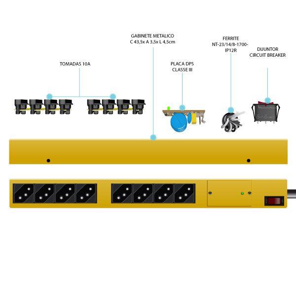 Filtro de Linha TS10A 8 Tomadas Multiproteção e Surtos Tripla Segurança