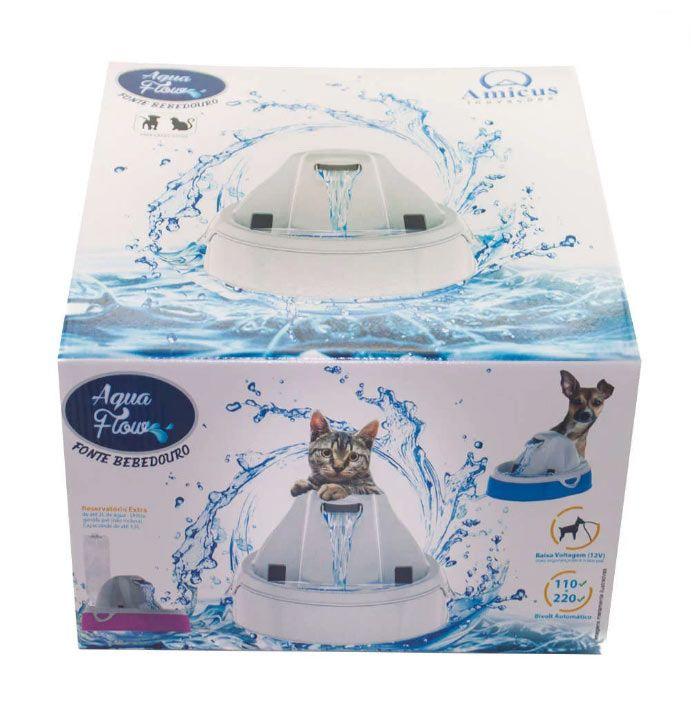Fonte Bebedouro Automático Aqua Flow para Cães e Gatos Eletrônico Amicus Branco/Branco