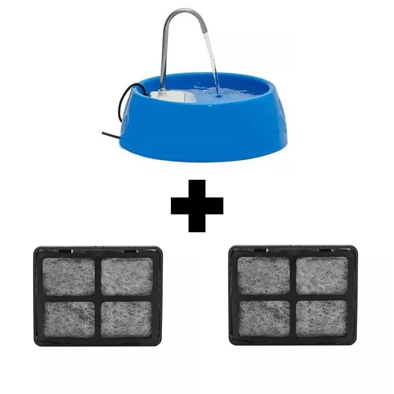 Fonte Bebedouro Purificador Aqua Mini Bivolt Azul + 2 filtros