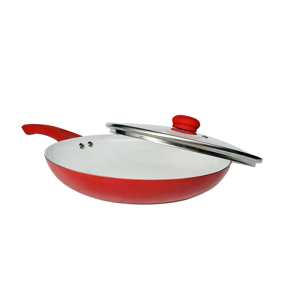 Frigideira de cerâmica antiaderente 28 centimetros vermelha
