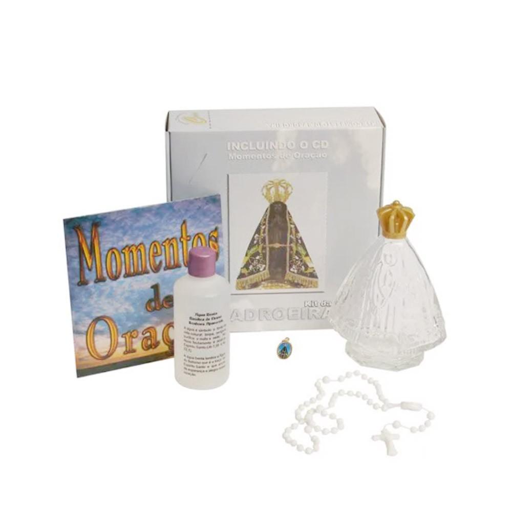 Kit 3un Padroeira, CD Momento de Orações, Frasco com Água Benta 100 ml, Terço