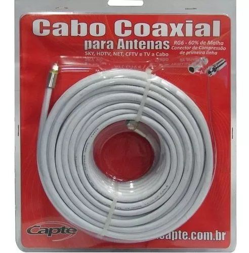 Kit Antena Digital 4K Log 16 com Mastro 45 cm e Cabo coaxial Capte 12 mts - 5 und.
