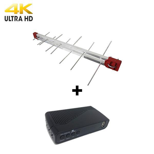 Kit Antena Digital 4K Log 16 Conversor Imagevox, 12mt Cabo Coaxial c/ Conector