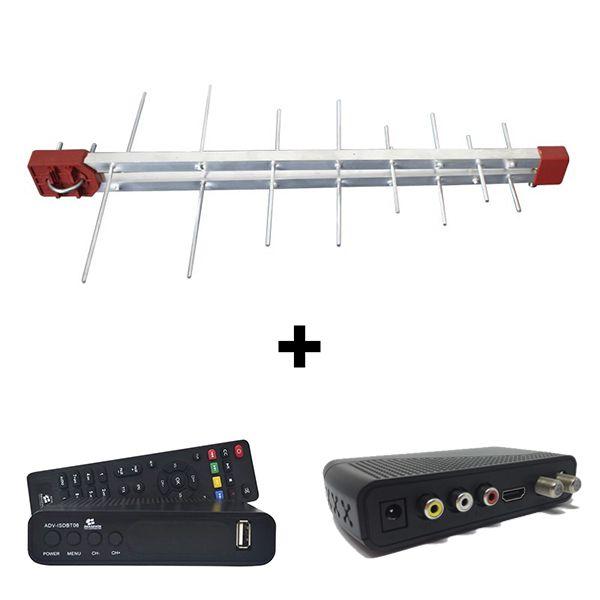 Kit Antena Digital 4K Log 16 Conversor Imagevox, 12m Cabo Coaxial c/ Conector